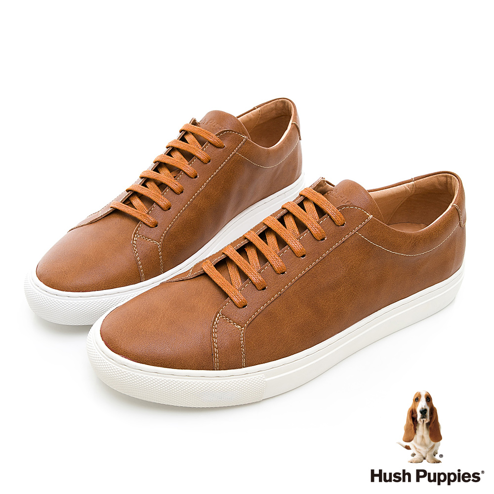 Hush Puppies WDC 繫帶皮質休閒鞋-棕色