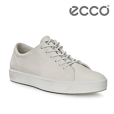 ECCO SOFT 8 M 柔軟皮革簡約休閒鞋 男-白