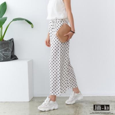 JILLI-KO 綁帶造型波點鬆緊闊腿褲- 白色