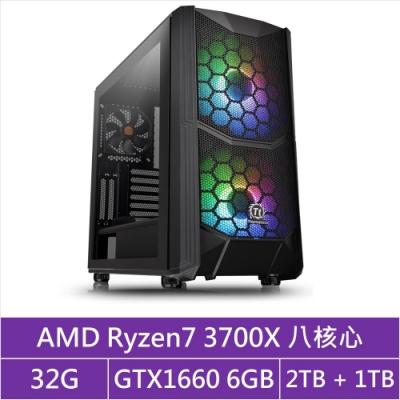 (無卡分期12期)華碩X570平台[貪婪龍王]R7八核GTX1660獨顯電玩機
