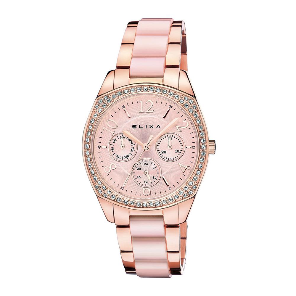 ELIXA ENJOY晶鑽錶面簡約數字刻度 三眼錶盤 金屬玫瑰金錶帶35mm