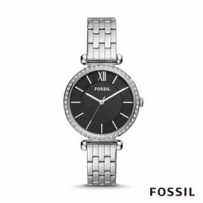 FOSSIL TILLIE 鑲鑽細緻鍊帶女錶-銀色 36MM BQ3496