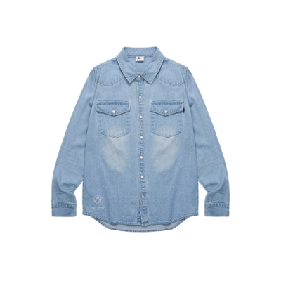 NAVY-重洗水牛仔襯衫-情侶款(兩色)-男【UNA018】