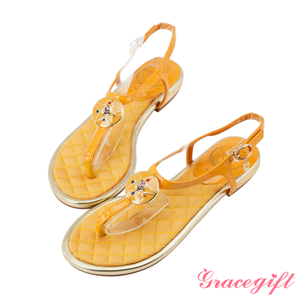 Grace gift-美少女戰士月光水晶亮漆T字涼鞋 黃