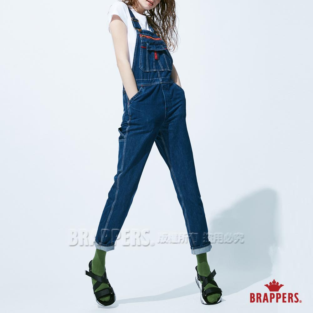 BRAPPERS 女款 Boy friend系列-中寬版吊帶長褲-藍