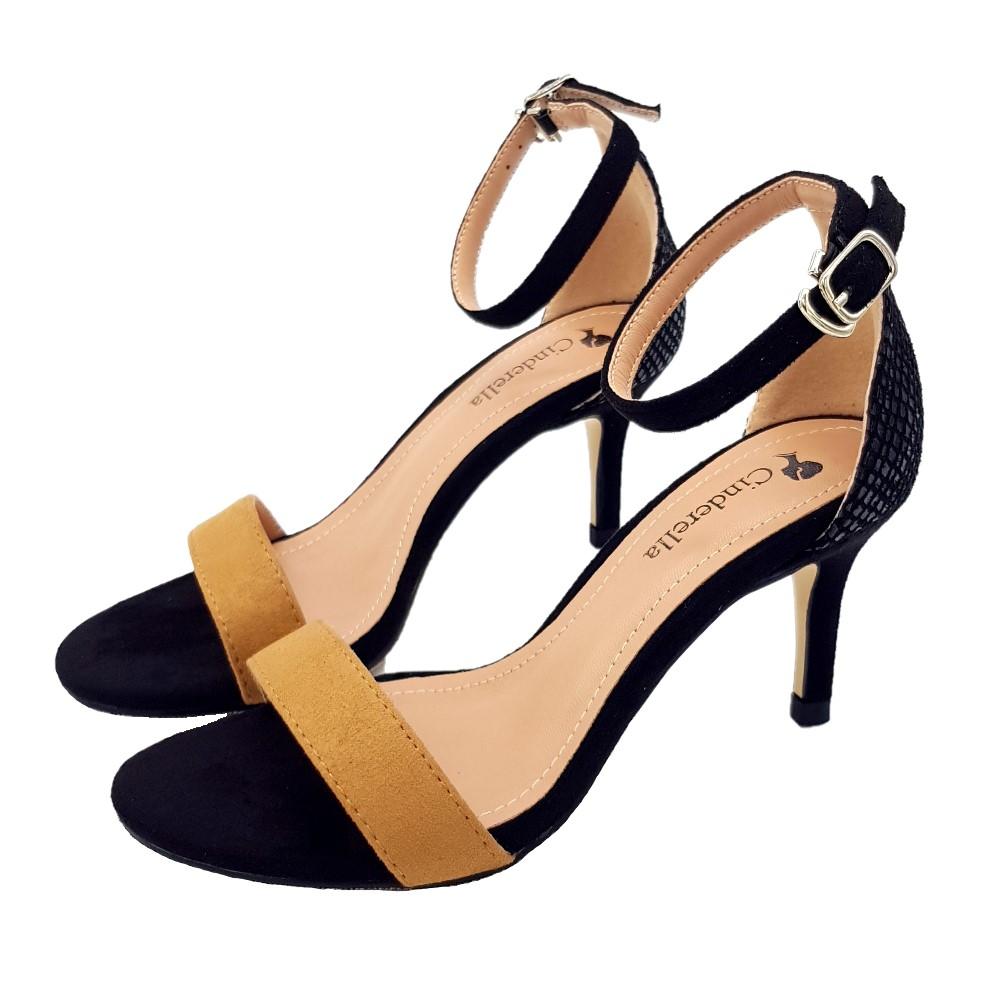 Cinderella Fashions小尺碼雙色拼接簡約一字繫帶中跟涼鞋-棕色