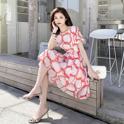 【KISSDIAMOND】法式甜美顯瘦雪紡洋裝(1色M-2XL/KDD-9339)