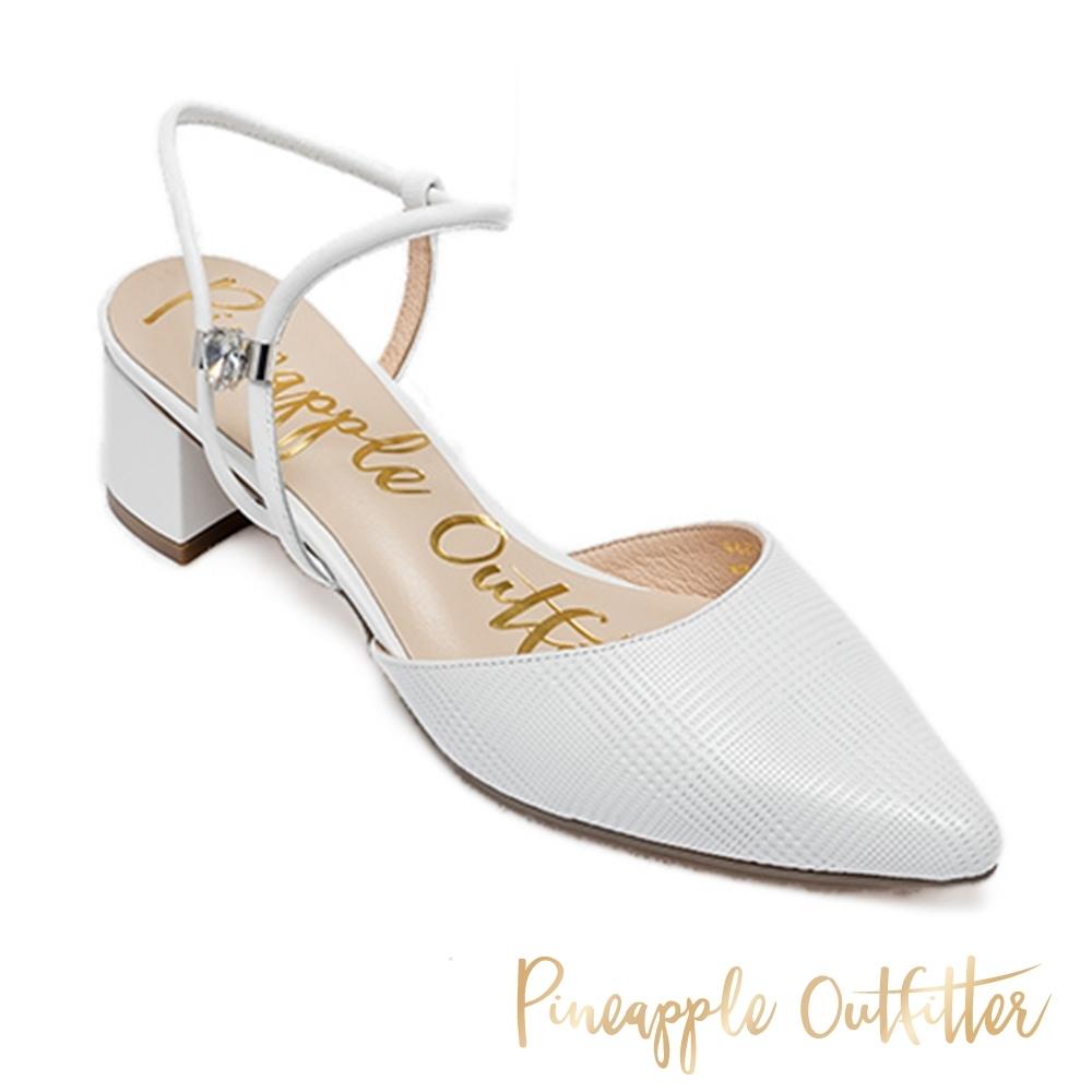 Pineapple Outfitter 氣質閃鑽繞踝中跟涼鞋-白色