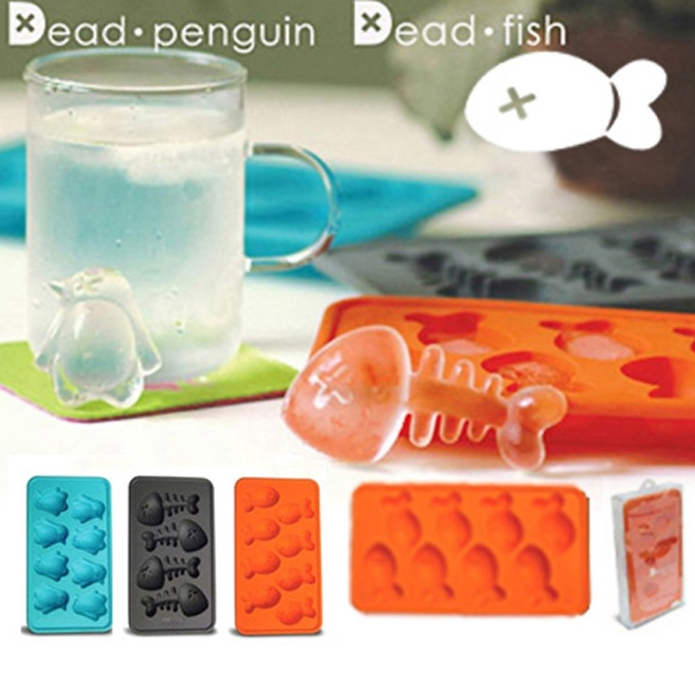 iSFun 魚骨化石 矽膠模型製冰盒 隨機色