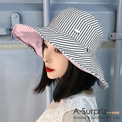 A-Surpriz 典雅條紋雙面遮陽布帽(白)