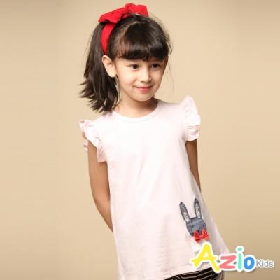 Azio Kids 女童 上衣 蝴蝶結兔子貼布荷葉短袖上衣(粉)
