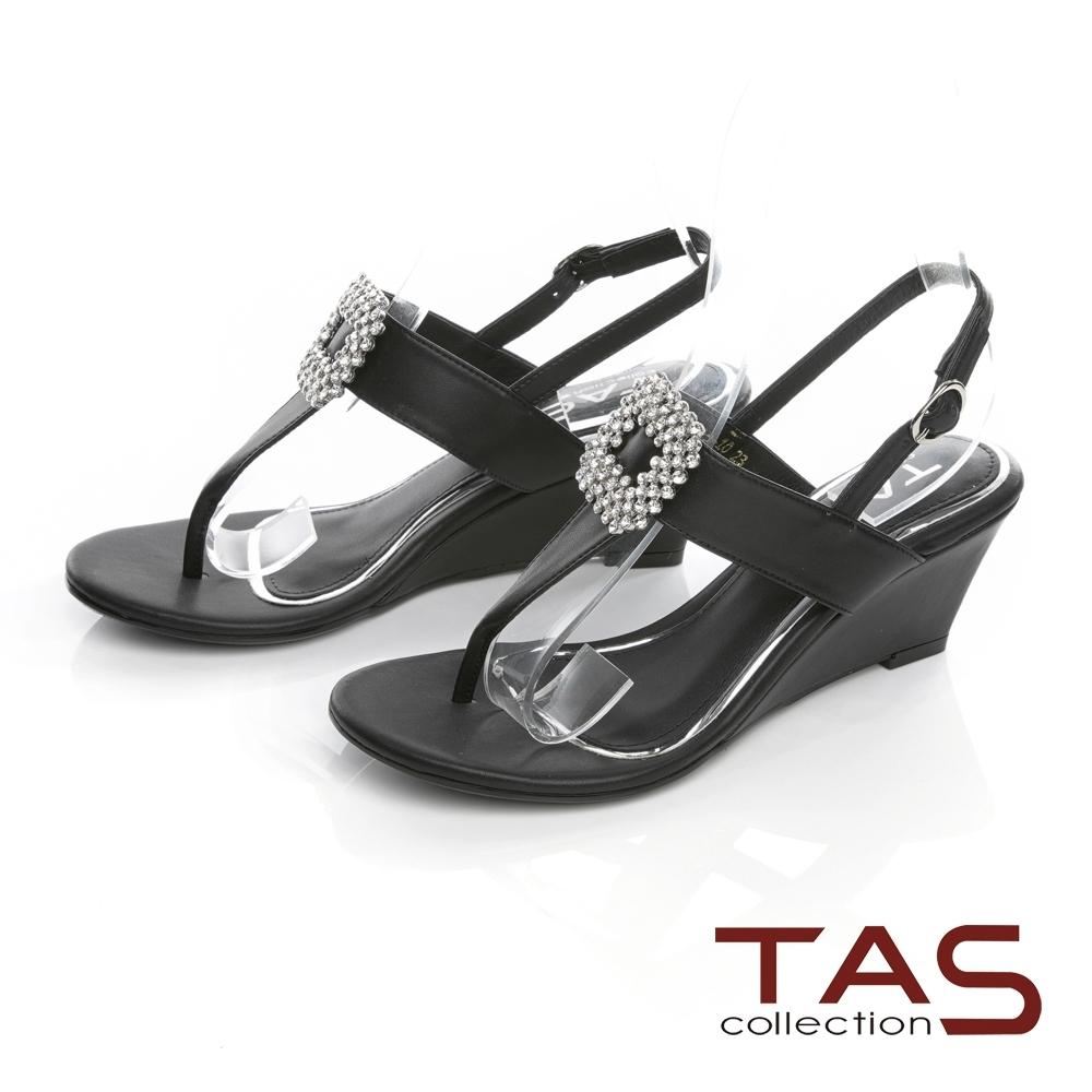 TAS華麗白鑽飾扣夾腳楔型涼鞋-經典黑