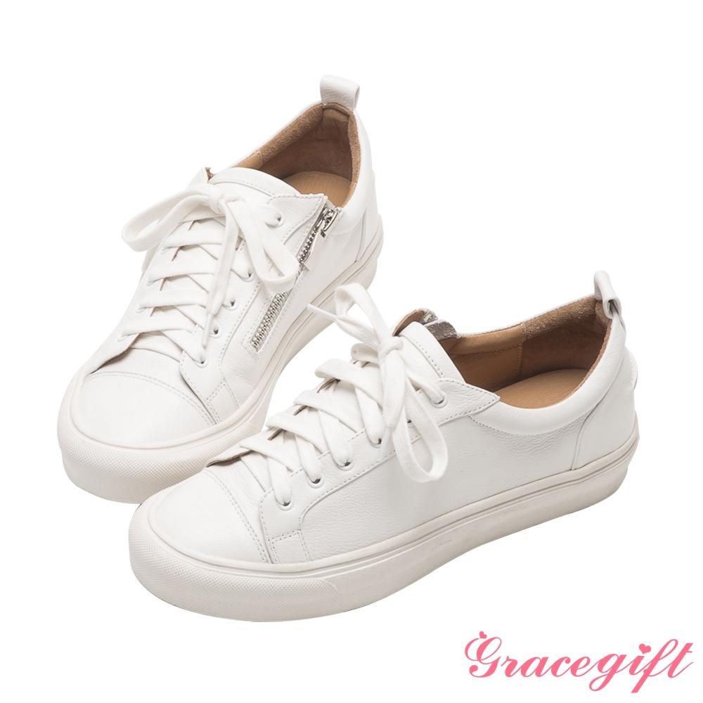 Grace gift X唐葳-聯名全真皮側拉鍊設計休閒鞋 白