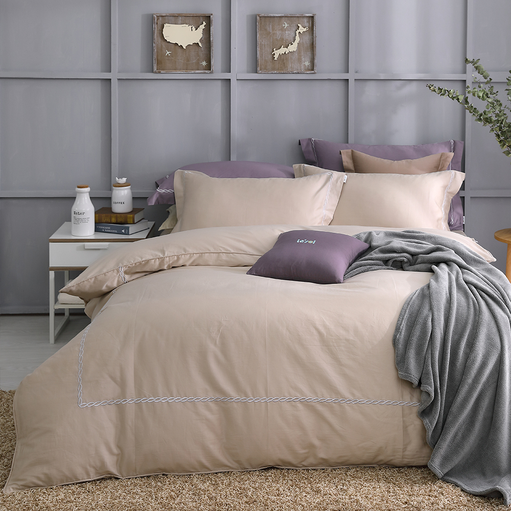 LASOL睡眠屋-300織刺繡設計款精梳棉 加大兩用被床包四件組 時尚金