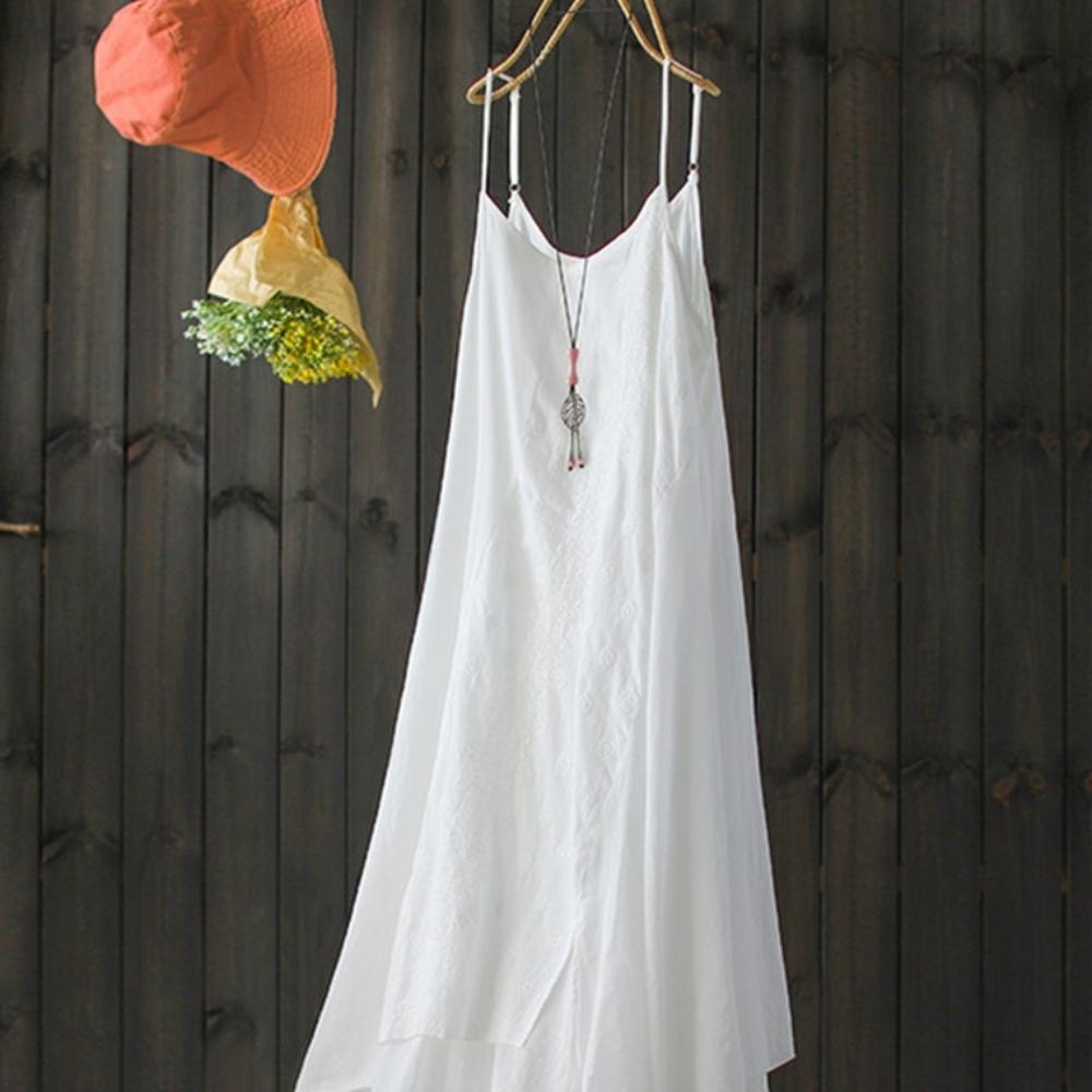 中長版純棉吊帶裙刺繡內搭洋裝-設計所在
