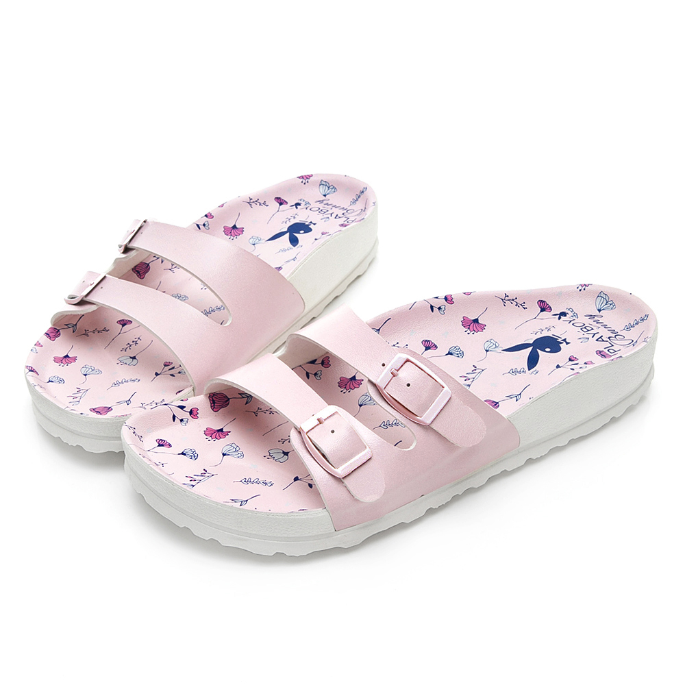 PLAYBOY 粉嫩浪漫雙帶休閒拖鞋-粉-YT50399