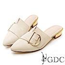 GDC-真皮百搭斜扣尖頭素色基本上班穆勒低跟拖鞋-米色