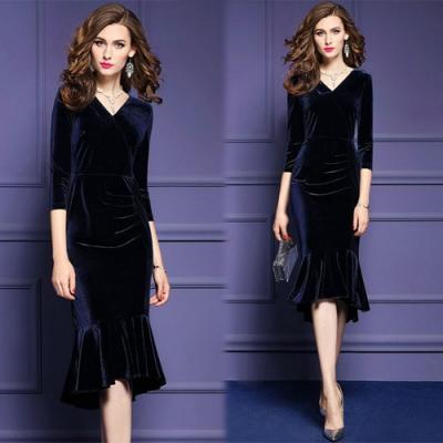 【KEITH-WILL】韓新品V領絨布修身洋裝-4色