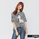 H:CONNECT 韓國品牌 女裝-復古感圖像條紋上衣-藍