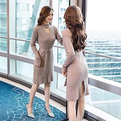 DABI 韓國風名媛氣質配腰帶收腰下擺開叉長袖洋裝