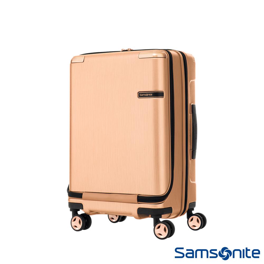 Samsonite新秀麗20吋 Evoa 前開式拉絲光澤防盜拉鍊抗震輪登機箱(玫瑰金)