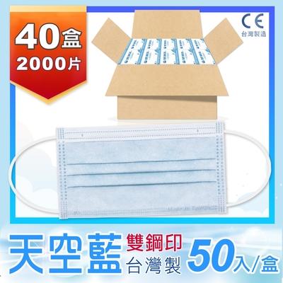 普惠醫工 成人防疫醫療用口罩-天空藍(每盒50片)共40盒