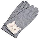 ANNA SUI 可愛貓咪品牌字母LOGO刺繡安哥拉羊毛可觸控手套(灰色系)