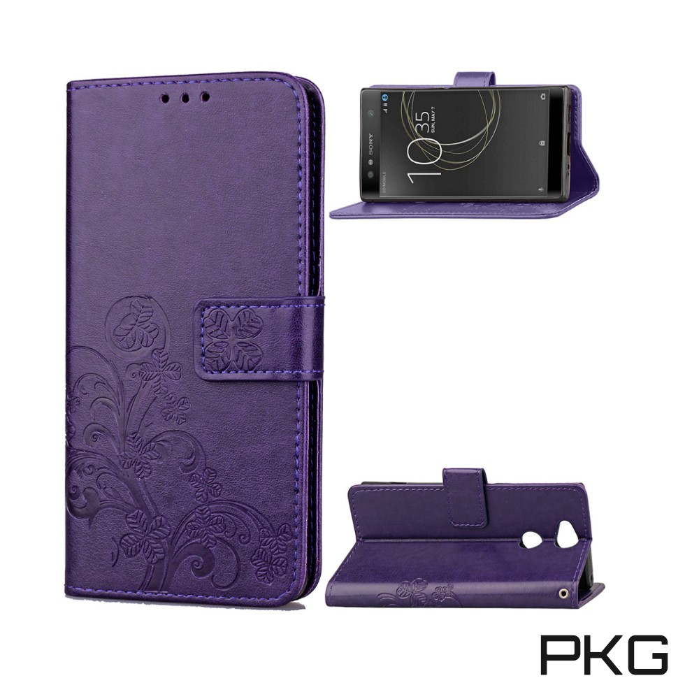 PKG SONY XA2  側翻式皮套-精選皮套系列-幸運草-熱銷紫