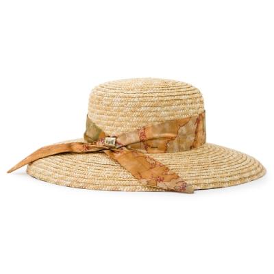 Alviero Martini 義大利地圖包 渡假風蝴蝶結 編織草帽-地圖黃