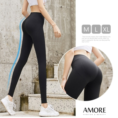 【Amore女裝】鯊魚皮顯瘦高彈束腰提臀壓力褲