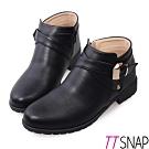 TTSNAP短靴-MIT個性交叉釦帶低跟踝靴 黑