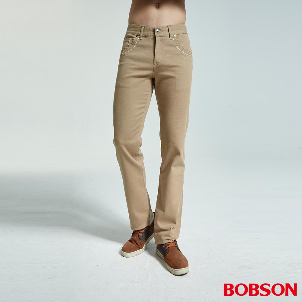 BOBSON 男款低腰繡花彈性直筒褲