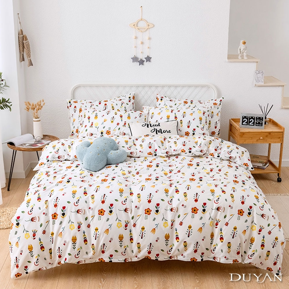 DUYAN竹漾-100%精梳棉/200織-單人床包二件組-朵朵花戀 台灣製