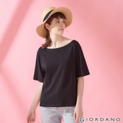 GIORDANO 女裝垂墜風船領短袖T恤- 09 標誌黑色