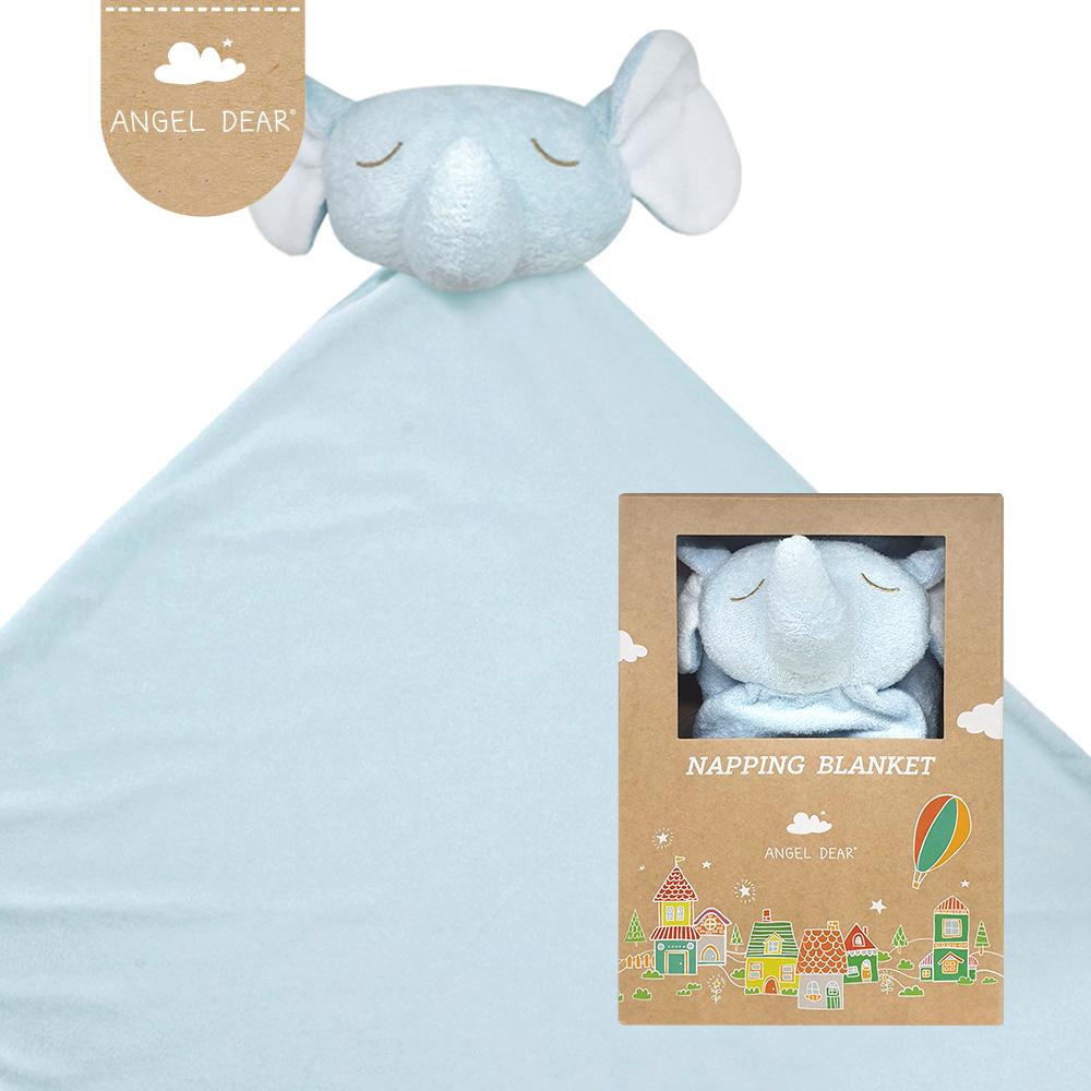 美國 Angel Dear 大頭動物嬰兒毛毯禮盒版 (藍色大象)