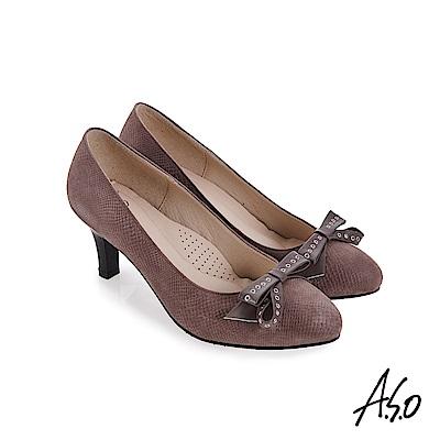 A.S.O 義式簡約 蝴蝶結飾釦高跟鞋 灰褐