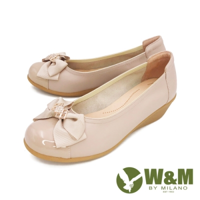 W&M (女)蝴蝶拼接坡跟厚底娃娃鞋 女鞋 - 奶茶色(另有黑)