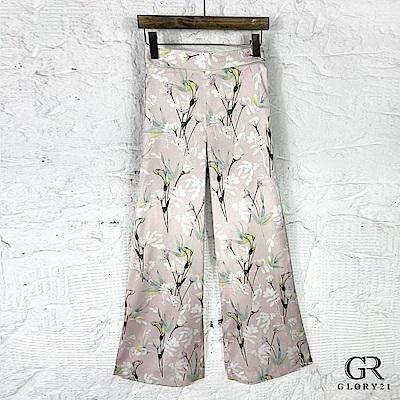 GLORY21 古典花卉印花寬褲_粉紅