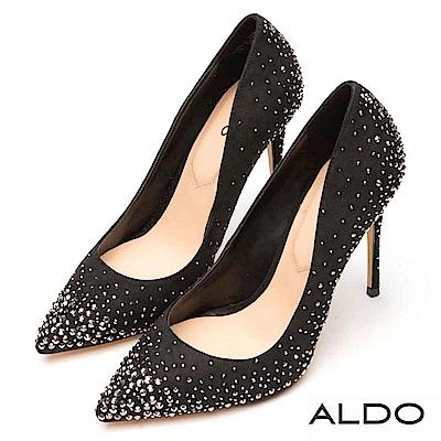 ALDO 原色佐璀璨幾何水鑽鑲嵌尖頭細高跟鞋~尊爵黑色