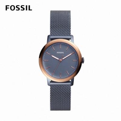 FOSSIL Neely 鐵灰藍神秘氣質女錶 藍色不鏽鋼鍊帶 34MM ES4312