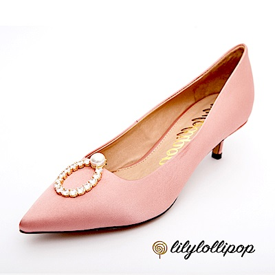 Lilylollipop-Luxury 珍珠環緞面跟鞋--鮭粉色