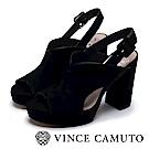 Vince Camuto 麂皮簍空後繫帶微增高跟鞋-絨黑