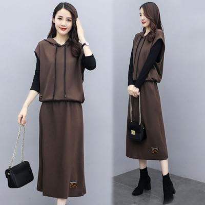 【韓國K.W.】(預購)簡約休閒連帽二件式洋裝