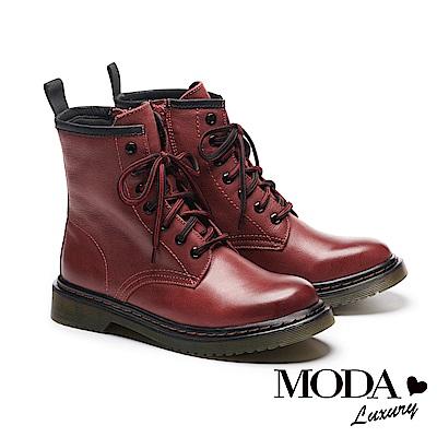 短靴 MODA Luxury 率性經典牛皮綁帶馬汀馬丁中筒短靴-紅