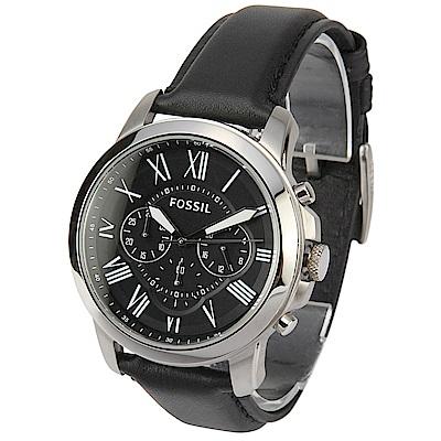 FOSSIL Grant 羅馬三眼計時黑色皮革腕錶-(FS4812)-45mm