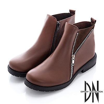 DN 輕時尚 雙拉鍊造型真皮短靴-深咖