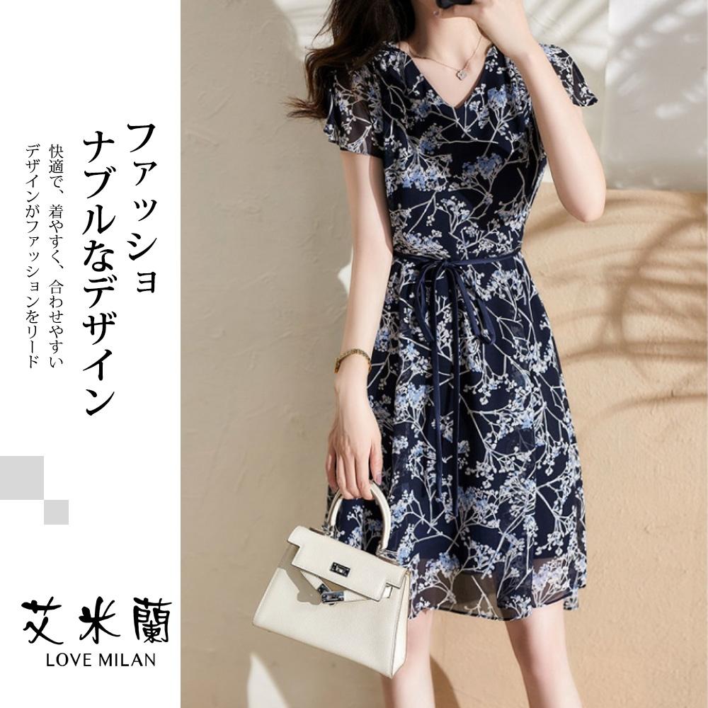艾米蘭-韓版V領植物紋繫繩洋裝-深藍(S-XL)