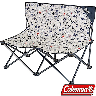 Coleman 33438_露營地圖情人椅 休閒低腳椅/摺疊雙人椅/折合椅/野餐露營椅