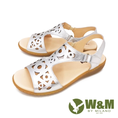 W&M(女) 鏤空黏扣帶 厚底彈力涼鞋 女鞋 -銀 (另有黑)