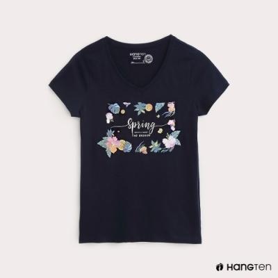 Hang Ten-女裝春天字樣印花T恤-深藍